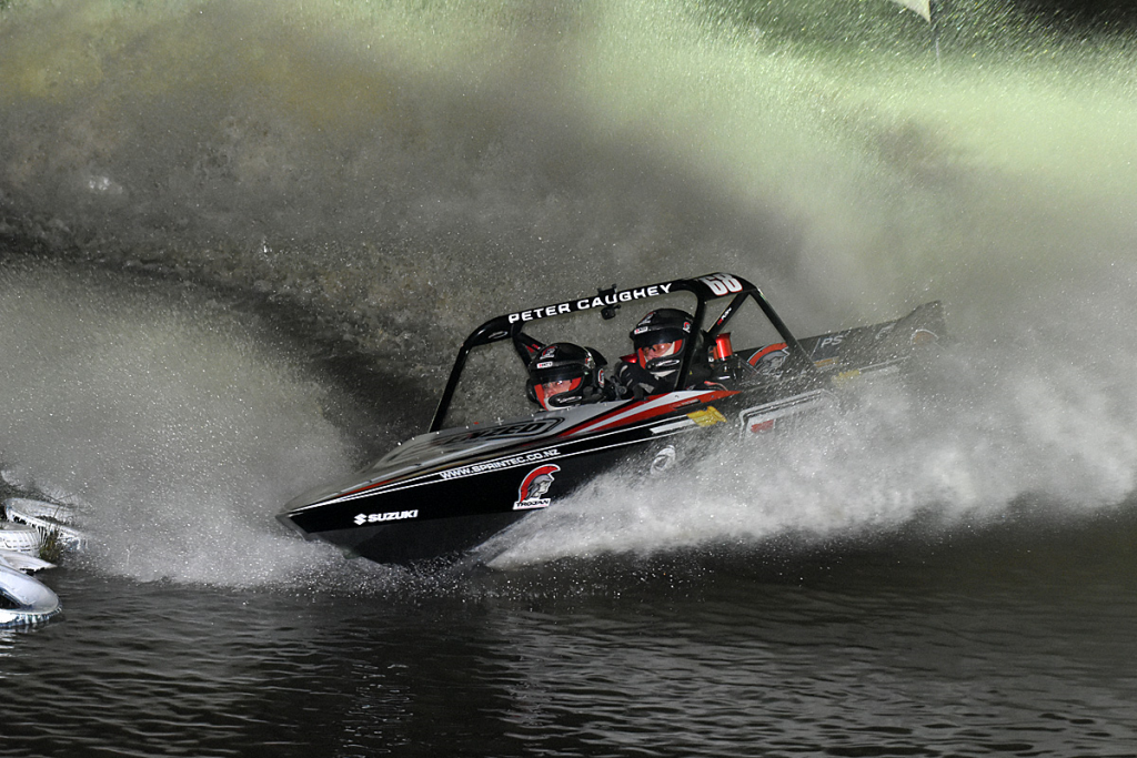Peter Caughey setting the day's fastest time, under lights at Whanganui
